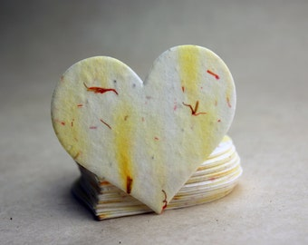 """Large Yellow Seed Paper Hearts 2.85""""w x 2.5""""h Wildflower Orange Safflower Petals for Weddings or Events"""