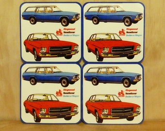 Set of 4 coasters - 95mm Square MDF - Holden, HQ, Kingswood, Vacationer, Station Wagon