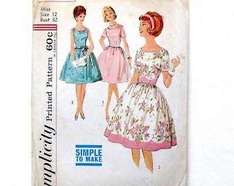 Vintage 60's Simplicity Misses One-Piece Full-Gathered Skirt Dress Sewing Pattern #4853 - Size 12 (Bust 32) - Cut and Complete