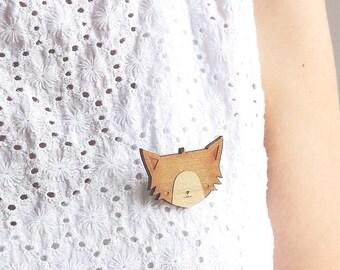 Laser Cut Wooden Cat Brooch