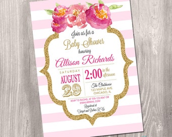 Pink and gold baby shower invitation girl, printable baby shower invite, pink and white stripes watercolor gold glitter Printable Invitation