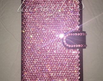 Swarovksi Iphone 6/6+, 7/7+ Wallet Case, Bling Cell Phone Case, Bling Phone Case, Bling IPhone Case-Light Rose