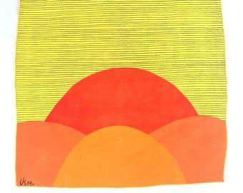 1960's 1970's  Vera Sunset Mod Graphic Napkin // Tapestry // Orange Yellow Red