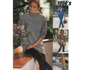 McCall's 6223 Woman's Knit Cardigan, Vest, Tunic, Stretch Pants Sewing Pattern Size 10-12 Bust 32.5-34 in/83-86cm Vintage 1992 UNCUT