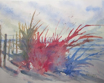 At The Beach, Print of Original Watercolor Painting, watercolor art, beach painting, seascape, beachscape, beach grass painting.