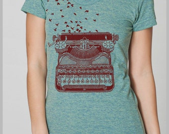 Freedom of Speech Women's T Shirt Vintage Typewriter Birds Writer's Gift Tee American Apparel Tshirt s, m, l, xl  8 COLORS