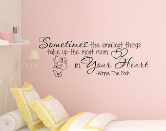Winnie The Pooh Wall Decal Quote Sometimes The Smallest Things Wall Sayings Vinyl Decals Stickers Nursery Kids Baby Room Wall Art Z338  sc 1 st  Etsy & Classic Winnie The Pooh Wall Decals Quotes Sometimes The