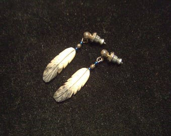 vintage ear ring hand carved bone Silver Hawk Signed hand painted 30 years old