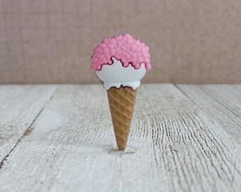 Strawberry Drumstick Ice Cream Cone - Sugar Cone - Summer - Dessert - Lapel Pin