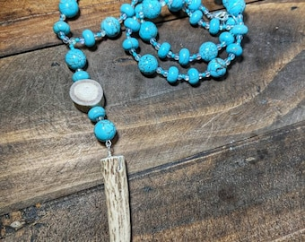 Turquoise Beaded Necklace - Country - Antler Jewelry - Antler Pendant - Deadgorgeousdesign