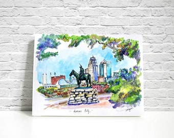 """PRINT of Kansas City """"The Scout"""" sculpture with skyline. Penn Valley Park. From my original ink and watercolor sketch"""