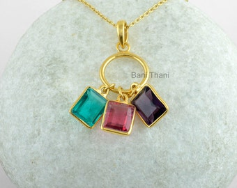Three Color Gemstone Necklace Micron Gold Plated 925 Sterling Silver Bezel Jewelry #1720
