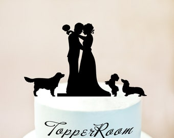 Wedding Cake Topper With Three Dogs,Wedding Cake Topper With Dog,Wedding Silhouette Cake Topper With Dog,Mr and Mrs Cake Topper With Dog 67