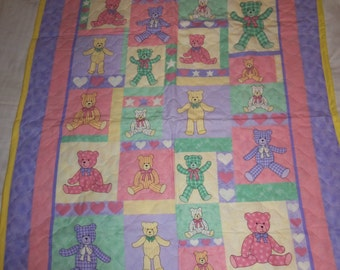 Great Baby Gift~~Brand New Vintage Handmade Pink Teddy Bear Baby Quilt~~