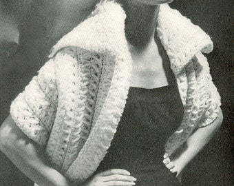 CROCHET PATTERN Vintage 50s Super Bulky Collared Stole/Wrap Instant Download PDF