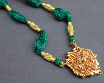 Gold Filigree Necklace, Temple Jewelry, Tribal Necklace, Green Silk Threads, Statement Necklace, Indian Jewelry, Gold Necklace, Bold Pendant