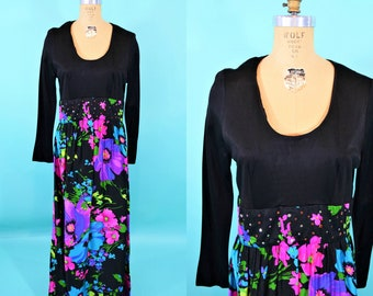 1960s maxi dress | floral print rhinestone evening dress | vintage 60s maxi | W 33""