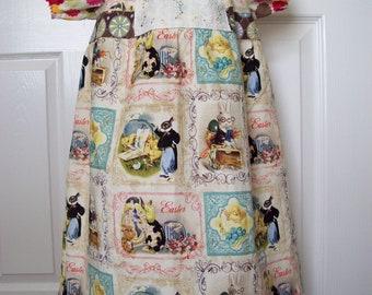 Easter Vintage Postcard Dress  Peasant  Girl  SIze 2 Only