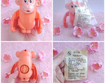 1980s. Vintage retro USSR Clockwork mechanical monkey. Working and with a check.