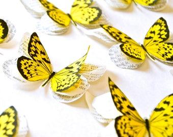 Papillons jaunes en papier, deco papillons mariage, décoration murale papillons jaunes, décoration mariage jaune, décor mariage nature