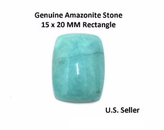 100% Natural Amazonite Cabochon 15 x 20 MM Rectangle (Pack of 1)