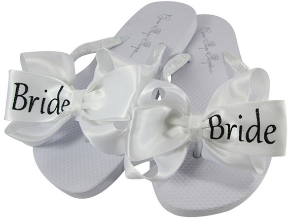 Ivory White Heel Shoes Flat Bridal Bride Custom and Wedge Flops Gold Wedding Glitter Colors or Flip Satin Bows Rose Sandals Bow SxqBwP0cC
