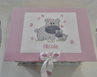 Personalized Souvenir box with hippo embroidery and baby or toddler name