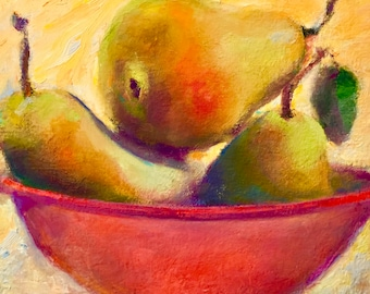 """Fruit Art, Pear Painting, Kitchen Art, Pear Still Life, Pears, Original Small Oil Painting by Tina Wassel Keck Oil on Canvas on Panel 8 x 8"""""""