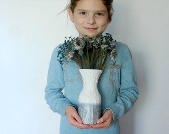 White and Silver Colorblock  vase / white and silver home / metallic decor / silver and white vase