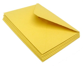 Yellow envelopes, handmade paper, recycled, deckle edge, set of 10, A2 size