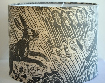 Lamp shades etsy uk harvest hare drum lampshade aloadofball Images