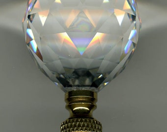 Lamp Finial-Faceted Leaded Crystal Ball**Solid Polished Brass Base**