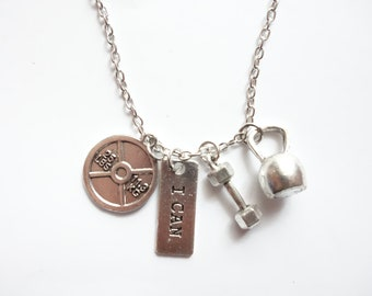 I CAN - Motivational Fitness Necklace / Gym / Workout / Crossfit Silver - Jewellery Jewelry