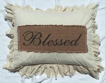 Pillow Slip Cover Pillow Sham  Burlap Muslin Pillow Sham PILLOW CASE Blessed