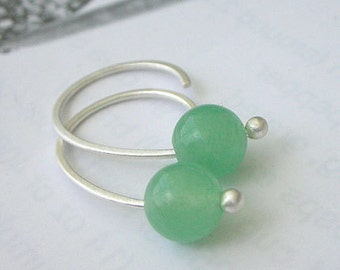 Green Jade Earrings - Small Open Hoop Earrings - Silver Minimalist Earrings
