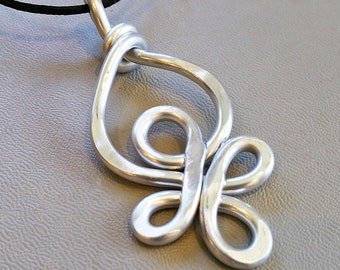 Celtic Loops Big Pendant, Light Weight Aluminum Wire Large Statement Necklace,  Gift for Her Celtic Knot Jewelry, Women, Celtic Necklace