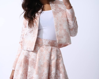 Nour Classic Cropped Blazer In Cosmetic Rose Gold Brocade