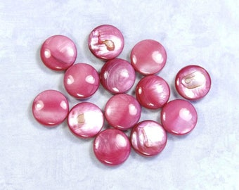 13 Watermelon Pink Mother Of Pearl Beads Coin Shell Beads Round MOP Beads Pink Shell Beads