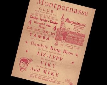 Vintage Mexican Nightclub Broadside Flyer Montparnasse Club Ensenada