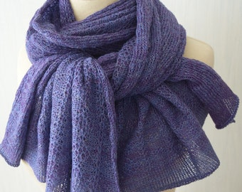 Linen Scarf Knitted Natural Summer Shawl Wrap in Blue Purple Violet