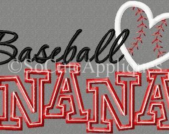 Embroidery design 5x7 Baseball Nana 5x7 Embroidery design, baseball, Granny, Grandma, Nana, baseball embroidery, baseball applique