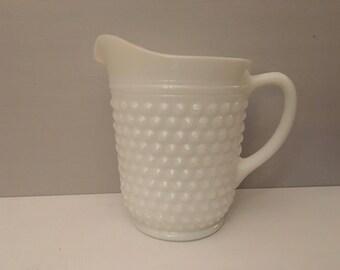 Hobnail milk glass pitcher