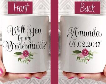 Will You be my Bridesmaid - Custom Coffee Mug - Bridesmaid Proposal Watercolor Floral Mug - Bridesmaid Gift Mug - Blush Wine Watercolor Mug
