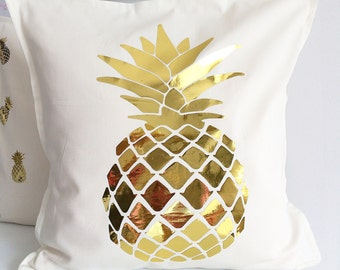 Gold pineapple pillow cover
