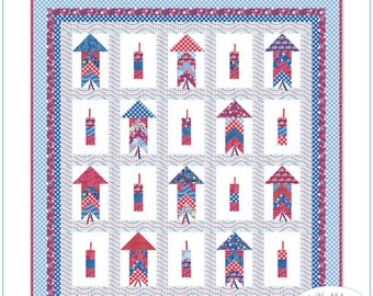 Riley Blake - Patriotic Picnic - Doodlebug Design - Bottle Rocket Quilt Kit - Quilting Fabric - Cotton Fabric