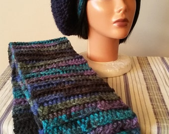 Crochet Tam/Slouchy hat and Scarf