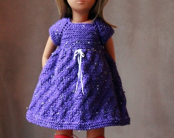 Hand Knitted  Purple Dress for Vintage Sasha Doll or Schoenhut Miss Dolly