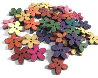 25 Boutons fleurs couleurs variées - lot de boutons en bois 20mm