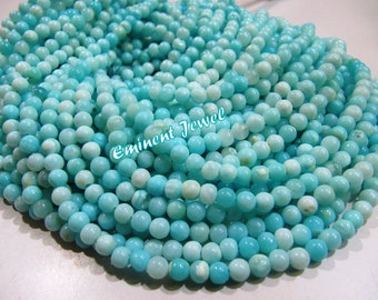 Genuine Natural Blue Opal Round Plain Beads 4-5mm Peruvian Opal Smooth Beads Strand 13.5 inches Rock bottom Price- Best value for money