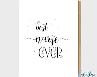 Best Nurse Ever Greeting Card - Nurse Note Card, Greeting Card, Appreciation Greeting Card, Surgery Greeting Card, Sweet Greeting Card